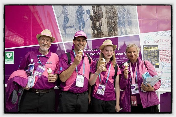 London 2012 Ambassadors eating ice cream