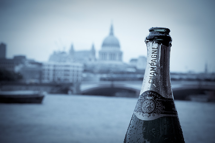 Champagne along the River Thames