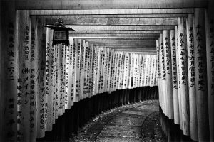 Fushimi Inari Shrine Shrine in black & white