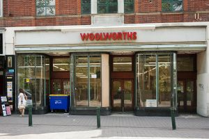 Woolworths shop front after it closed