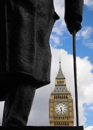 Big Ben through Churchill Statue