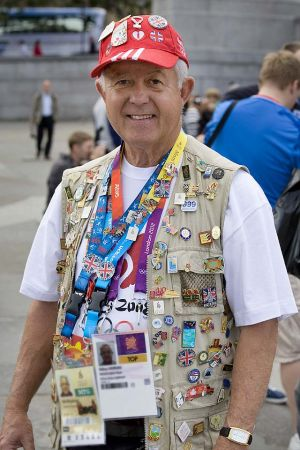 Olympics Supporter wearing badges